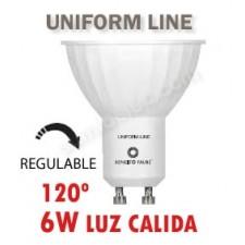 Bombilla GU10 regulable LED uniform line 6w 120 grados