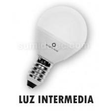 Bombilla LED esférica mate E14 luz intermedia