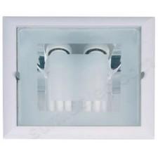 Downlight aluminio 2x26w empotrable acabado blanco