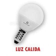 Bombilla LED esférica mate luz cálida E14 4W
