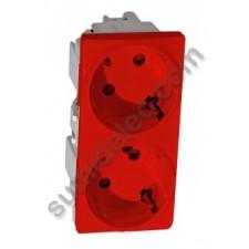Toma de corriente doble color rojo U3.067.03 Schneider