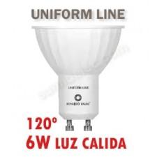 Bombilla LED Gu10 uniform line 6w 120 grados cálida