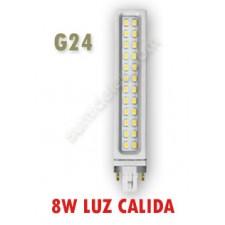 Lámpara G24D PL de LED cálida 8W 2 pins