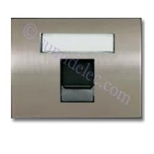Tapa ventana 1 conector tel informatica 8418.1 AL acero pulido
