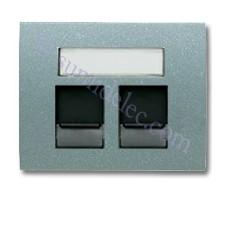 Tapa ventanas 2 conectores tel informatica 8418.2ga gris artico