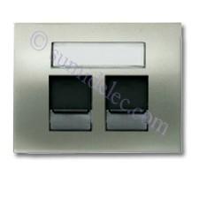 Tapa ventanas 2 conectores tel informatica 8418.2 nc niquel cava