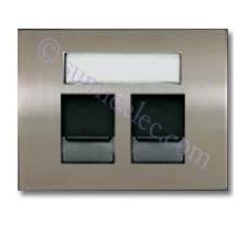 Tapa ventanas 2 conectores tel informatica 8418.2 AL acero pulido