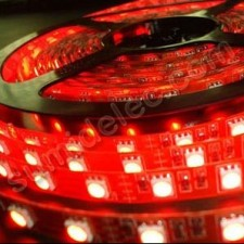 Tira de leds color rojo 5m chip smd 5050 Epistar 12v IP65