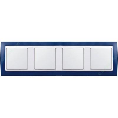 Marco azul marino 4 elementos blanco...