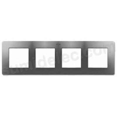 Marco aluminio frío base blanca 4 elementos Simon Detail Air