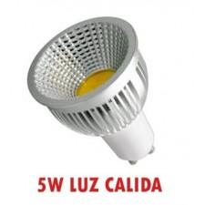 Bombilla GU10 de LED 5W COB 90º luz cálida