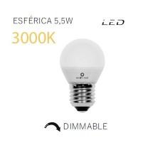 Bombilla esférica de LED mate regulable 3000k