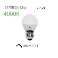 Bombilla esférica de LED mate regulable 4000k