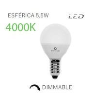 Bombilla LED esférica mate regulable 4000k