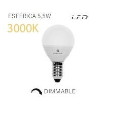 Bombilla LED esférica mate regulable 3000k