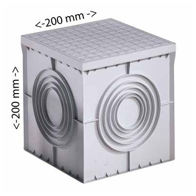 Arqueta cuadrada 200 x 200 gewiss gris fondo plano