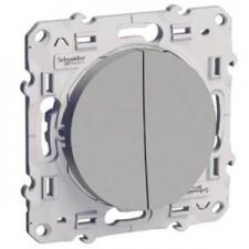 Conmutador doble S530213 10ax serie odace schneider plata