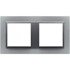Marco doble Efapel 90920t as animato aluminio gris