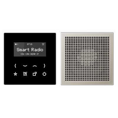 Kit Smart Radio mono color negro acero RAD ES 2918 SW serie LS de Jung