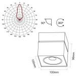 Foco de techo de Led cuadrado orientable