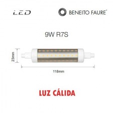 Bombilla Led tubular 9W R7S 118mm 3000k Beneito & Faure