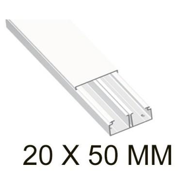 Canaleta blanca unex 78095-2 con tabique 20x50mm