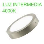 Downlight circular de superficie color plata 18W 4000k