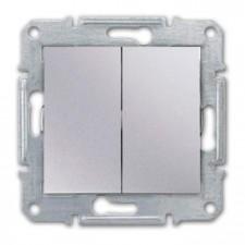 Doble interruptor Schneider Sedna SDN0300160 aluminio
