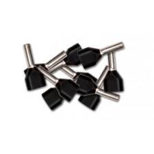 Punteras DOBLE aisladas hueca para cable de 1.5mm negra