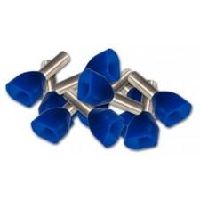 Punteras DOBLE aisladas hueca para cable de 2.5mm azul