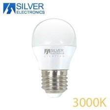 Bombilla esférica LED 6W 3000K Silver electronics