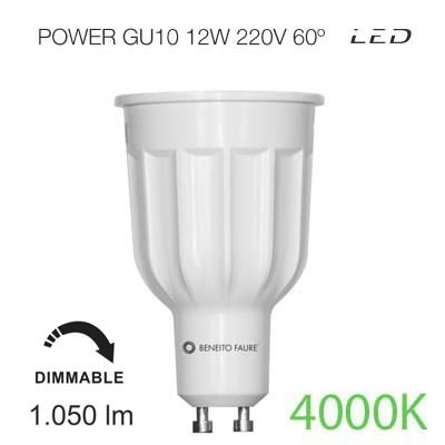 Bombilla led POWER regulable GU10 12W luz intermedia Beneito & Faure