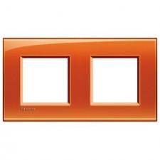 Marco BTicino deep naranja cuadrado de 2 ventanas LNA4802M2OD