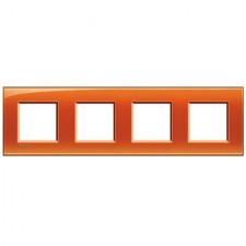 Marco BTicino deep naranja cuadrado de 4 ventanas LNA4802M4OD