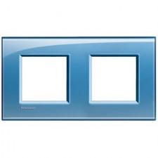 Marco BTicino deep azul cuadrado de 2 ventanas LNA4802M2AD