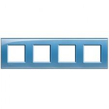 Marco BTicino deep azul cuadrado de 4 ventanas LNA4802M4AD