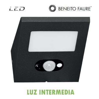 Aplique panel solar LED IRIS negro 2.5W 120º
