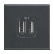 Toma cargador USB antracita de BTicino Axolute HS4285C2