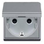 Base enchufe con tapa n2288.1pl plata serie zenit niessen