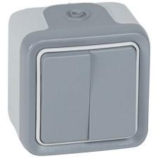 Doble conmutador estanco gris 069715 Legrand