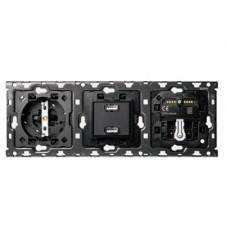 Kit 3 elementos 1 base - 1 cargador 2Xusb - 1 persianas - 1 cruzamiento 10010307-039 Simon 100