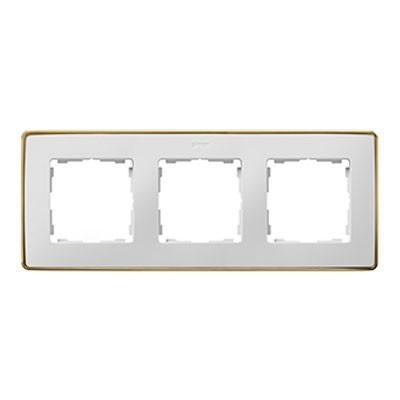 Marco blanco base oro 3 ventanas Simon 82 Detail