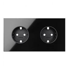 Kit front 2 elementos 2 enchufes schuko cristal negro 10020202-138 Simon 100