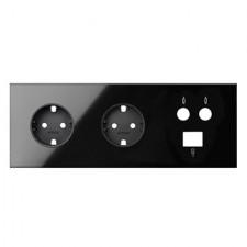Kit front 3 elementos 2 enchufes 1 TV única 1 RJ45 10020303-138 negro Simon 100