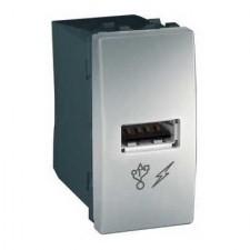 Toma cargador USB estrecha MGU3.428.30 aluminio unica Schneider