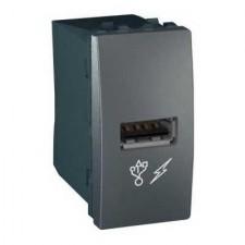Toma cargador USB estrecha MGU3.428.12 grafito unica Schneider