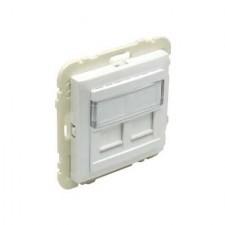 Tapa soporte dos conectores informática Efapel RJ45 90442 S GE HIELO