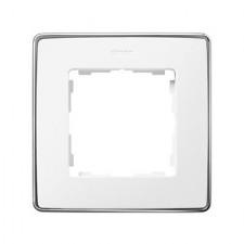 Marco blanco base cromo 1 elemento 8201610-244 Simon 82 Detail