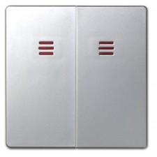 Doble tecla interruptor con piloto aluminio mate 82025-33