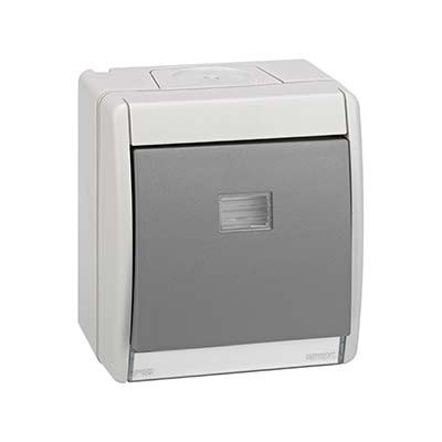Pulsador estanco IP55 monoblock superficie 4490150-035 Simon 44 Aqua